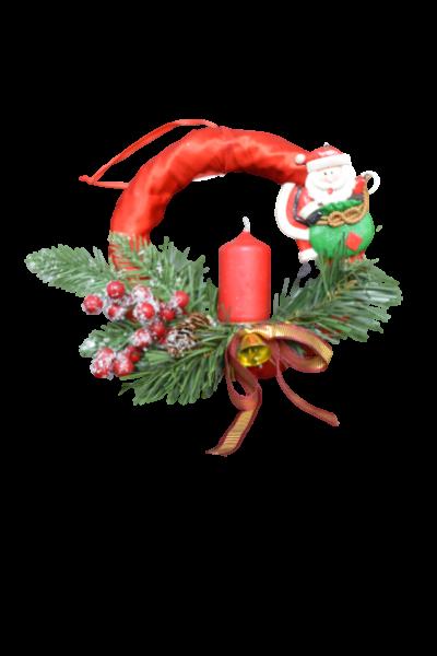 Decoratiune craciun - Coroana rosie cu lumanare si agatator 2