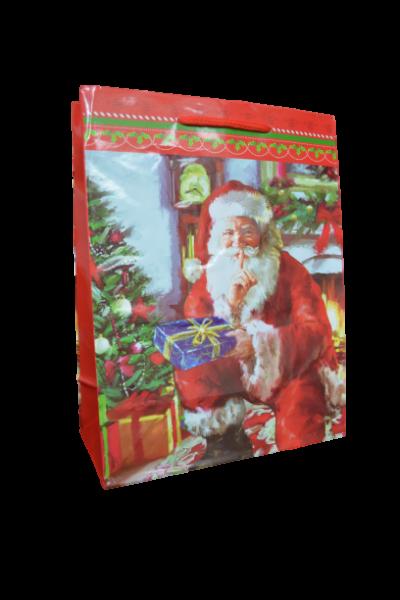 Punga de cadouri din hartie laminata - Design cu mos craciun 1