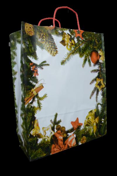 Punga pentru cadouri din hartie - Design cu crengi de brad 1