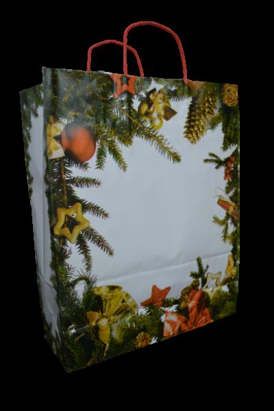 Punga pentru cadouri din hartie - Design cu crengi de brad 0