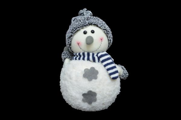Figurina decorativa din material textil - Om zapada cu fular si caciula 1