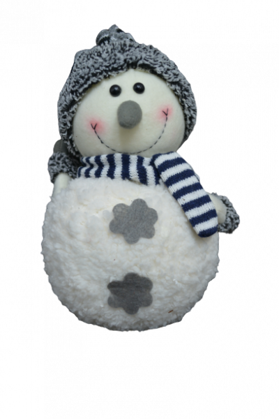 Figurina decorativa din material textil - Om zapada cu fular si caciula 0