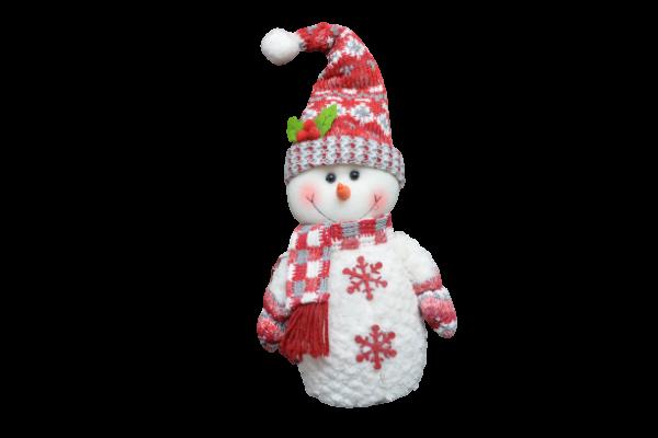 Figurina decorativa din material textil - Om zapada rosu cu alb 1