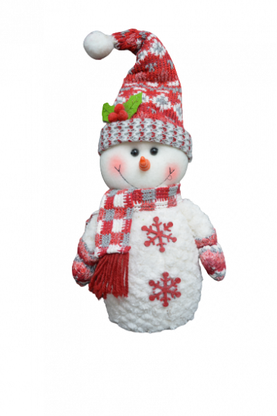 Figurina decorativa din material textil - Om zapada rosu cu alb 0
