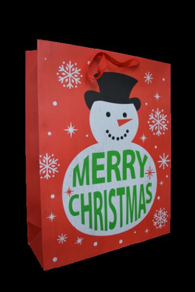 Punga pentru cadouri rosie - Design Merry Christmas [0]