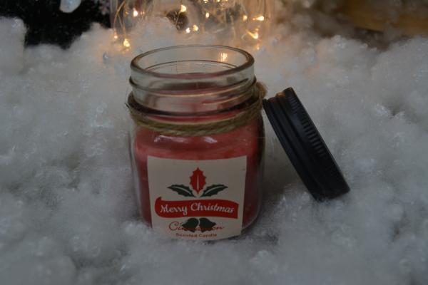 Lumanare cu aroma de scortisoara in mini borcan de sticla 1