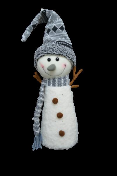 Figurina decorativa pentru Craciun din material textil - Om zapada 0