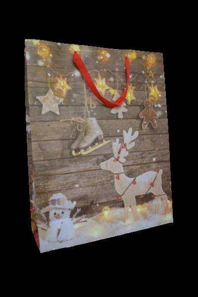 Punga pentru cadouri mare - Design cu reni 0