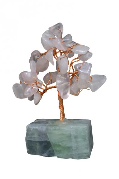 Copacel cu baza de fluorit si pietre de cuart roz 8 cm [0]