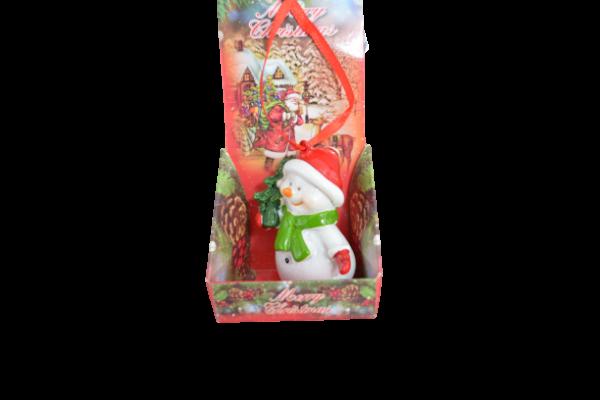 Figurina ceramica cu agatator - Design om de zapada 1