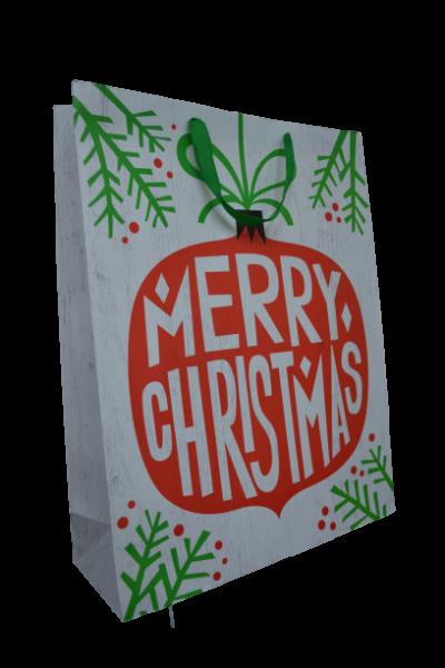 Punga pentru cadouri alba - Design Merry Christmas 1