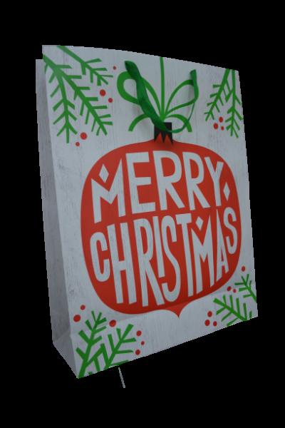 Punga pentru cadouri alba - Design Merry Christmas 0