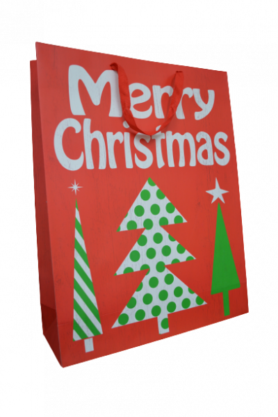Punga pentru cadouri rosie cu brad - Design Merry Christmas [1]