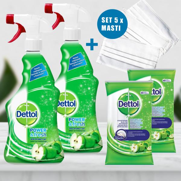Pachet  2 x Spray multifunctional Dettol Trigger Power & Fresh, Green Apple, 500 ml + 2 x Servetele dezinfectante Dettol - 40 buc. + 5 x Mască pentru față reutilizabilă 0
