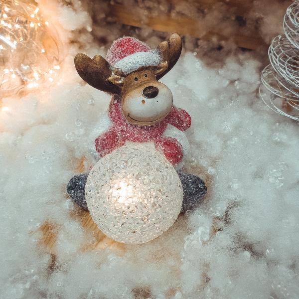 Figurina decorativa pentru Craciun realizata din ceramica cu lumina led – Ren 0
