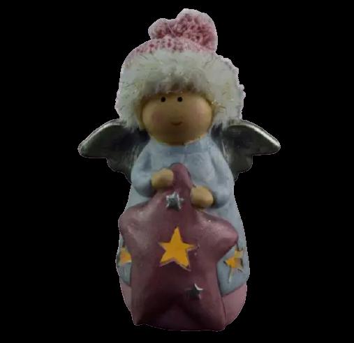Figurina decorativa pentru Craciun realizata din ceramica si material textil cu lumina led – Ingeras 1