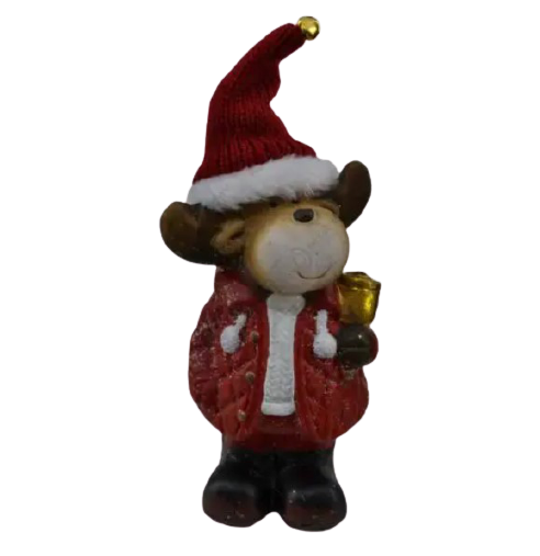 Figurina decorativa realizata din ceramica in forma de ren – Design cu caciula din material textil [1]