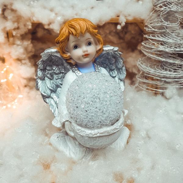 Figurina decorativa realizata din ceramica – Inger – Argintiu – Cu LED 0