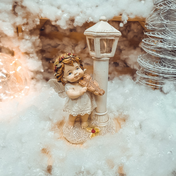 Figurina decorativa realizata din rasina cu lumina led – Ingeras cu vioara [0]