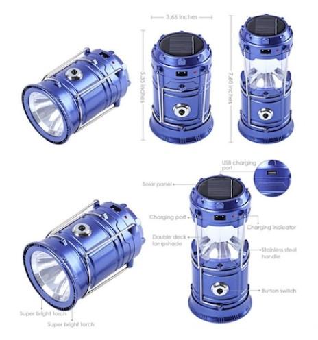 Lanterna Camping Cu Incarcare Solara, USB Sau La Priza – 6 Leduri [1]