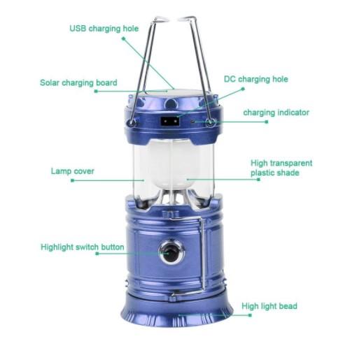 Lanterna Camping Cu Incarcare Solara, USB Sau La Priza – 6 Leduri [2]