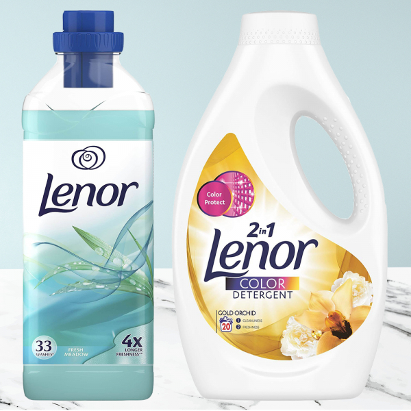 Balsam de rufe Lenor Fresh Meadow, 33 spalari, 1L + Detergent automat lichid Lenor Color 2in1 Gold Orchid 20 spalari 1,1L 0
