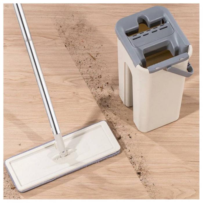 Mop de pardoseală pliabil pentru curățarea locuinței, Mop cu cap rotit la 180° cu tijă din oțel inoxidabil [0]