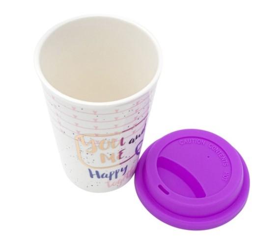 Pahar Ceramica, Capac din Silicon, cu Imprimeu, 400 ml, Alb/Violet [1]
