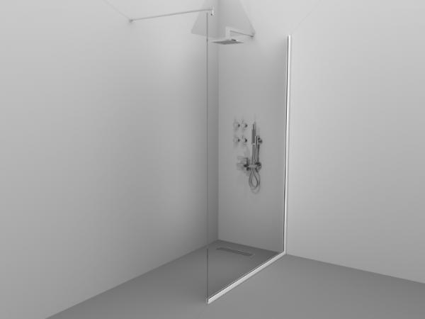 Paravan de duș Alux 100x190 - sticlă securizată, profil alb 0