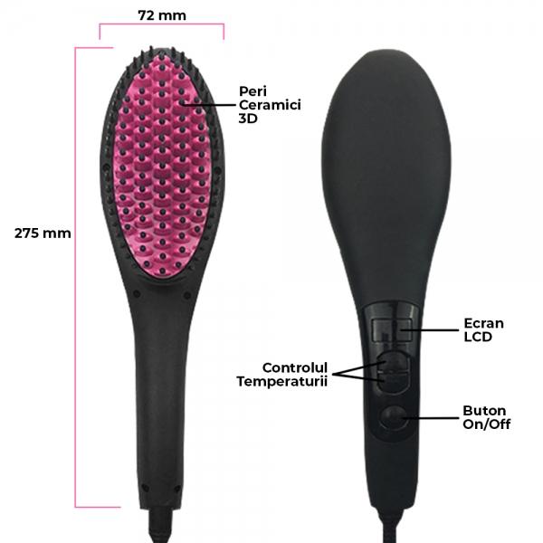 Perie Ceramica Electrica Pentru Indreptat Parul - Afisaj LCD Si Ionizare 3D 5