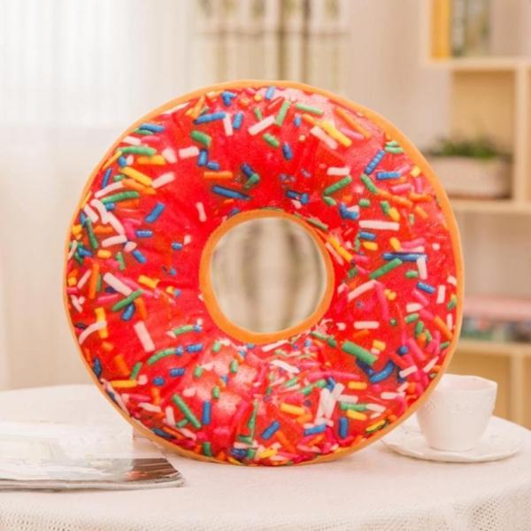 Perna Decorativa Donut Rosu 35X35 CM 0
