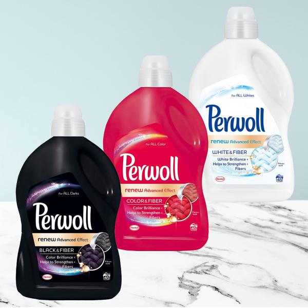 Pachet promo 3 x Detergent lichid Perwoll Renew Advanced Black & White & Color, 45 spalari, 2.7L 0