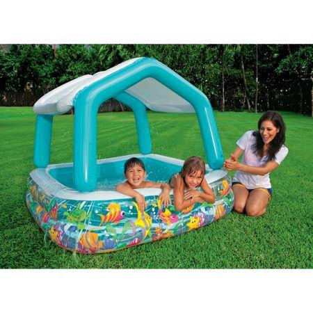 Piscina gonflabila pentru copii Intex Sun Shade 157x157x122 cm, cu acoperis 1