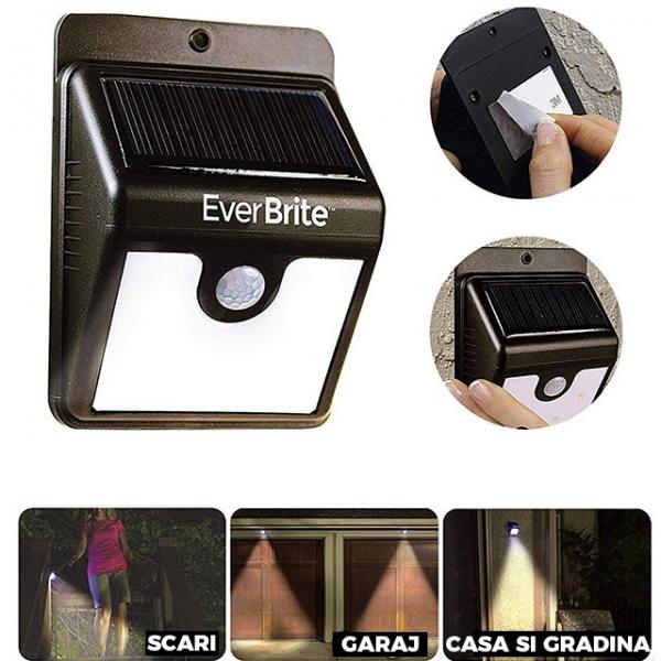 Lampa Pentru Exterior Cu Incarcare Solara Si Senzor Ever Brite 1