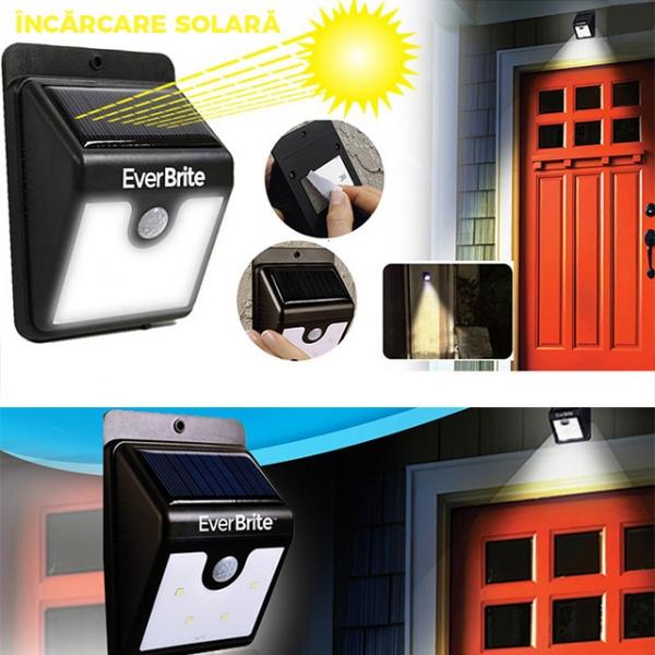 Lampa Pentru Exterior Cu Incarcare Solara Si Senzor Ever Brite 3