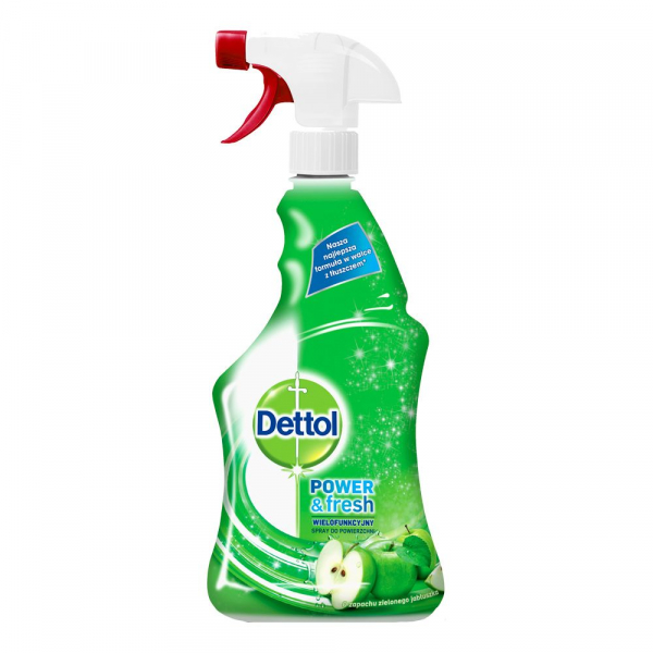 Pachet  2 x Spray multifunctional Dettol Trigger Power & Fresh, Green Apple, 500 ml + 2 x Servetele dezinfectante Dettol - 40 buc. + 5 x Mască pentru față reutilizabilă 2
