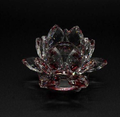 Floare de lotus Rosie din cristal de sticla - 8cm [1]