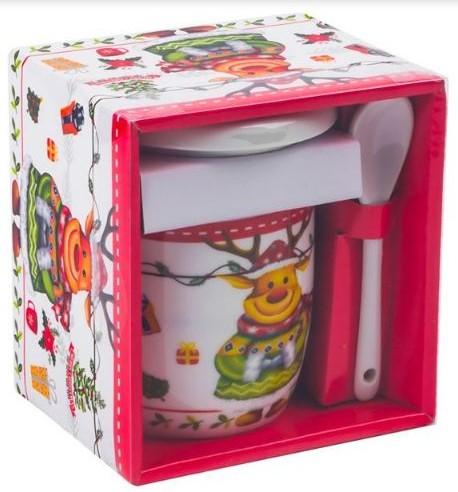 Set cana de ceramica cu lingurita si capac model Ren multicolor 300 ml 1
