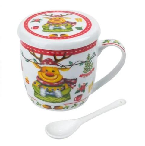 Set cana de ceramica cu lingurita si capac model Ren multicolor 300 ml 2
