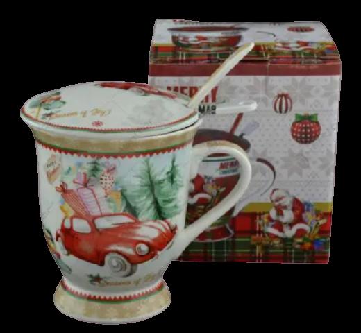 Cana de craciun realizata din ceramica cu capac si strecurator – Design masina cu cadouri 0