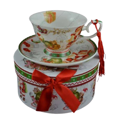 Set cana de craciun cu farfurie realizata din ceramica in cutie cadou – Design Mos Craciun 1
