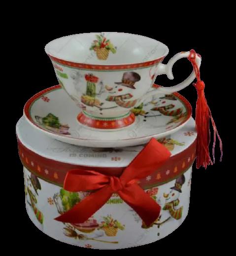 Set cana de craciun cu farfurie realizata din ceramica in cutie cadou – Design om de zapada 1