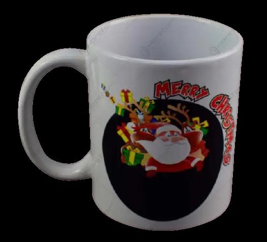 "Cana de craciun termosensibila realizata din ceramica – Design cu Mos Craciun si mesajul ""Merry Christmas"" 1"