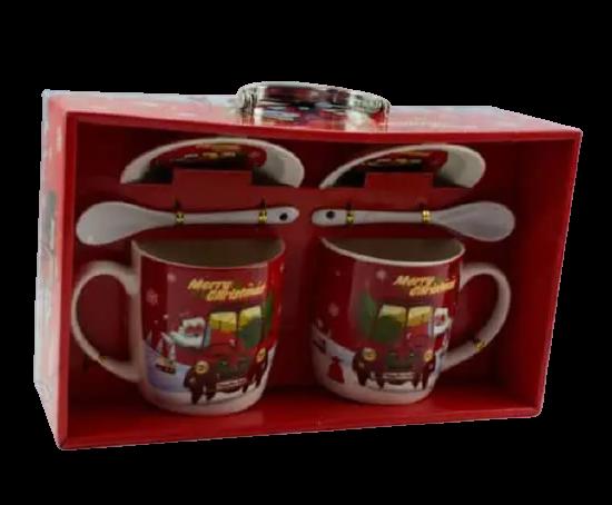 Set cana de craciun, 2 cani si 2 linguri realizate din ceramica – Design cu brad si Mos Craciun [1]