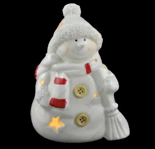 Figurina decorativa cu led realizata din ceramica in forma de om de zapada – Design cu stelute 1