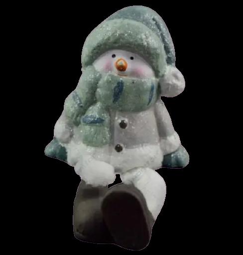 Figurina decorativa realizata din ceramica cu picioare din material textil – Om de zapada 1