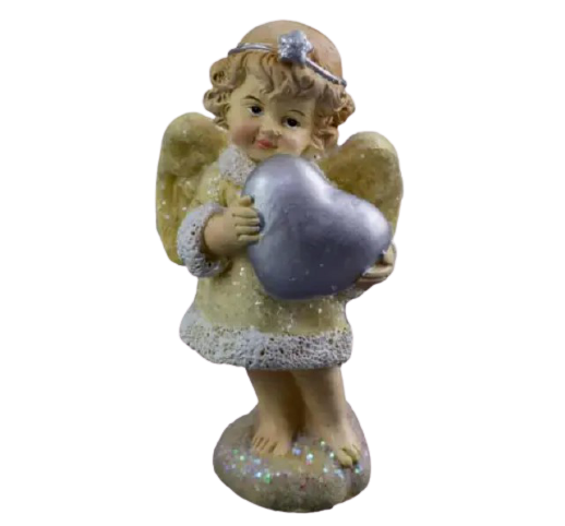 Figurina decorativa din rasina- Ingeras cu inima 0