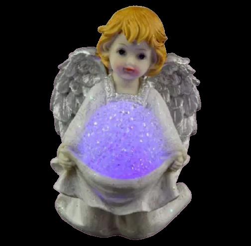 Figurina decorativa realizata din ceramica – Inger – Argintiu – Cu LED 1