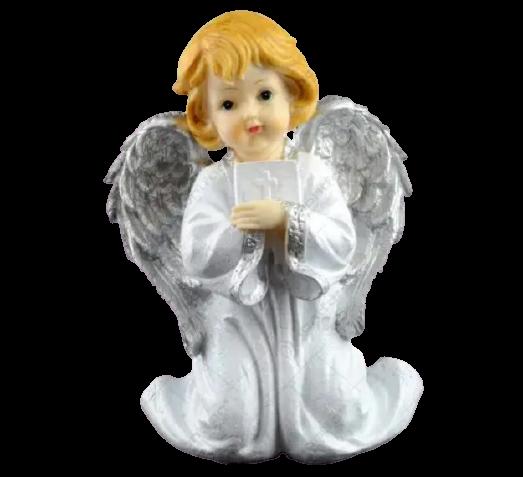 Figurina decorativa realizata din ceramica – Inger – Argintiu 24CM 1