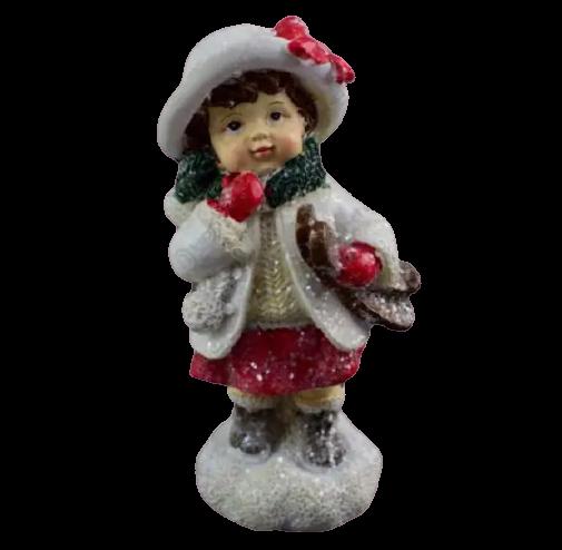 Figurina decorativa pentru Craciun realizata din ceramica – Copil cu schiuri 0